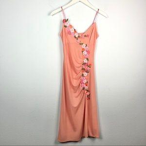 Ema Savahl pink floral appliqué ruched tank dress